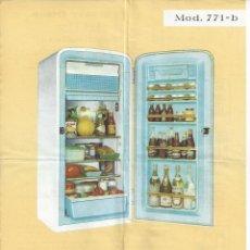 Catálogos publicitarios: HOJA REFRIGERADOR FRISAN MODELO 771-B. AÑOS 60. Lote 45450250