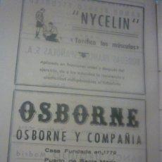 Catálogos publicitarios: HOJA PUBLICIDAD AÑOS 40. OSBORNE. Lote 45452406