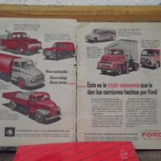 Catálogos publicitarios: PUBLICIDAD CAMIONES FORD Y EN TRASERAS RELOJ MOVADO - PELICULA KODAK 1956. Lote 45743098
