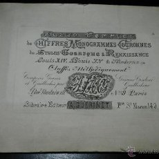 Catálogos publicitarios: ALBUM MONOGRAMAS, CORONAS GÓTICAS Y RENACENTISTAS ESTILOS, LOUIS XIV, LOUIS XV Y MODERNAS. CLASIFIC. Lote 46186112