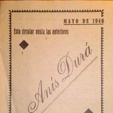 Catálogos publicitarios: ANIS DURA VIUDA DE SALVADOR DURA ALBACETE PRECIOS Y CONDICIONES DE VENTA 1946. Lote 46389655