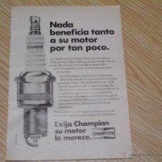 Catálogos publicitarios: PUBLICIDAD 1981 PAGINA DE 13 X 19 - BUJIAS CHAMPION. Lote 46891156