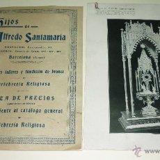 Catálogos publicitarios: ALFREDO SANTAMARÍA. GRANDES TALLERES DE ORFEBRERIA RELIGIOSA. NOTA DE PRECIOS + FOTOS. AÑOS 1900. Lote 47299616