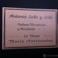 Catálogos publicitarios - ANUNCIO PUBLICITARIO (ANTONIO SOLLA Y SOLLA) TALLERES MECÁNICOS. MARÍN, PONTEVEDRA. - 47359261