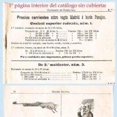 Catálogos publicitarios: 1900.-CATALOGO DE COTILLONES,CONFETI Y OTROS DE CARNAVAL AL MAYOR Y FÁBRICA.DE MIGUEL GALVEZ. 18 PAG. Lote 47485767