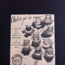 Catálogos publicitarios: RECORTE PUBLICITARIO (DÉCADA 1950) LA CORONA, MERMELADAS (VDA. DE MONTESINOS, ESPINARDO, MURCIA). Lote 130998324