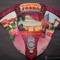 Catálogos publicitarios: ANTIGUO ABANICO O PAY-PAY PUBLICITARIO. ALMACENES JORBA BARCELONA-MANRESA. PLEGABLE. TRES PARTES. Lote 47853035