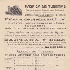 Catálogos publicitarios: PUBLICIDAD DE REUS- FABRICA DE TUBERIAS SANTANA Y BEIN- REPRESENTANTE ANTONIO BARRERA . Lote 47906535