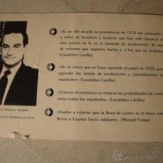 Catálogos publicitarios: ANTIGUO FOLLETO PARTIDO POLITICO UCD VISTAS ELCHE AÑO 1900. Lote 48398544