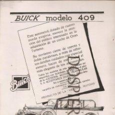 Catálogos publicitarios: RECORTE DE PRENSA, PUBLICIDAD AUTOMÓVILES BUICK DE GENERAL MOTORS, AÑOS 20. Lote 48506768
