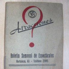 Catálogos publicitarios: ATRACCIONES BOLETÍN SEMANAL INFORMATIVO Nº 56 12 AL 18 DE JUNIO DE 1944. Lote 48612376
