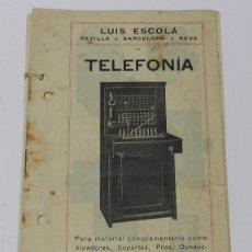 Catálogos publicitarios: ANTIGUO Y EXCEPCIONAL DE CATALOGO DE TELEFONIA, TELEFONOS. AISLADORES, SOPORTES, PILAS, CONDUCTORES,. Lote 49006236