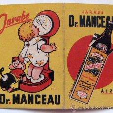 Catálogos publicitarios: JARABE DR. MANCEAU. DIPTICO CON PESOS Y ESTATURAS DE ADULTOS Y NIÑOS.. Lote 49484797