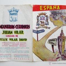 Catálogos publicitarios: PEQUEÑO CATALOGO PUBLICITARIO CERAMICA MANISES REFLEJOS INDUSTRIAS CERAMICAS JUSTO VILAR . Lote 49769446
