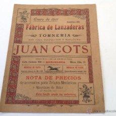 Catálogos publicitarios: CATÁLOGO FÁBRICA DE LANZADERAS Y TORNERÍA JUAN COTS. BARCELONA. AÑO 1901. 20 PÁG.. Lote 49911686