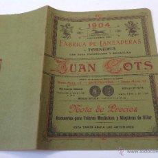 Catálogos publicitarios: CATÁLOGO FÁBRICA DE LANZADERAS Y TORNERÍA JUAN COTS. BARCELONA. AÑO 1904. 24 PÁG.. Lote 49911824