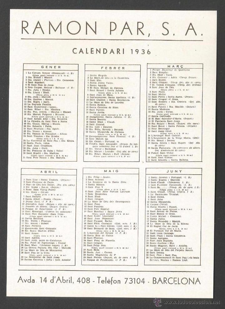 Calendario 1936.Lubricantes Tessa 12 Itinerarios De Excursion Sold