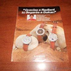 Catálogos publicitarios: PUBLICIDAD AÑOS 90: RELOJES RADIANT CON CARLOS MAS. Lote 50285743