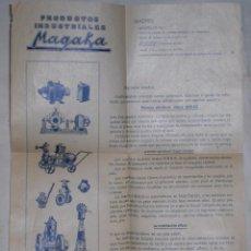 Catálogos publicitarios: PRODUCTOS INDUSTRIALES MAGAKA,MOTORES SIRIUS,1920. Lote 50856577