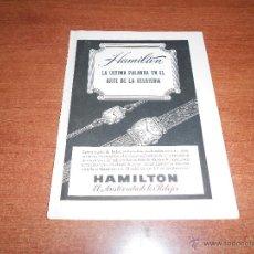 Catálogos publicitarios: PUBLICIDAD 1948: RELOJ HAMILTON. Lote 50925140