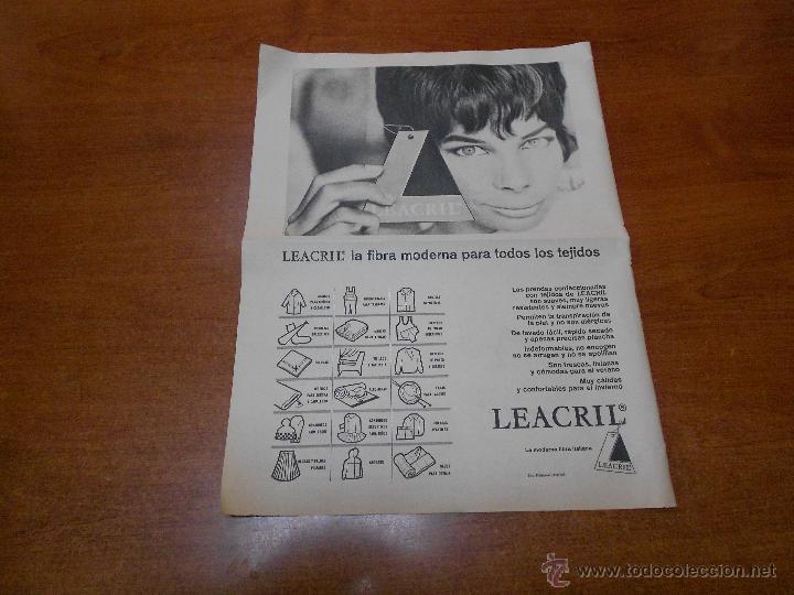 PUBLICIDAD 1962: LEACRIL (Coleccionismo - Catálogos Publicitarios)