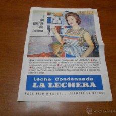 Catálogos publicitarios: PUBLICIDAD 1962: LECHE CONDENSADA LA LECHERA. Lote 51043772