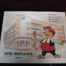 Catálogos publicitarios: ANTIGUO CATÁLOGO PUBLICITARIO - HOTEL MONTSACOPA - OLOT - PORTADA VILÁ - IMPRENTA BONET - 4 IDIOMAS. Lote 51047074