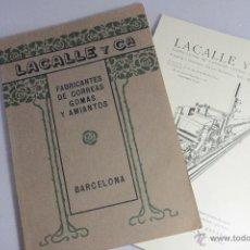 Catálogos publicitarios: LACALLE Y CIA, FABRICANTES DE CORREAS, GOMAS Y AMIANTOS, BARCELONA, 1922, CATÁLOGO Y PRECIOS -DOCE-. Lote 51438549