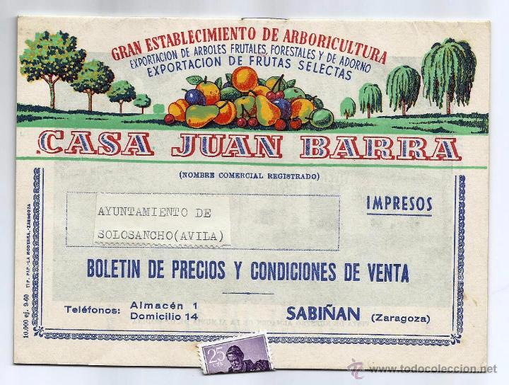 BOLETÍN DE PRECIOS Y CONDICIONES DE VENTA -CASA JUAN BARRA- SABIÑÁN (ZARAGOZA) (Coleccionismo - Catálogos Publicitarios)
