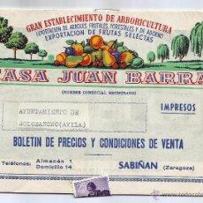 Catálogos publicitarios: BOLETÍN DE PRECIOS Y CONDICIONES DE VENTA -CASA JUAN BARRA- SABIÑÁN (ZARAGOZA). Lote 51537371