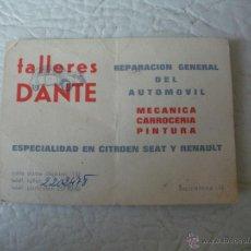 Catálogos publicitarios: TARJETA PUBLICITARIA - TALLERES DANTE, SEAT, CITROEN Y RENAULT - BARCELONA - AÑOS 60,70. Lote 51544521