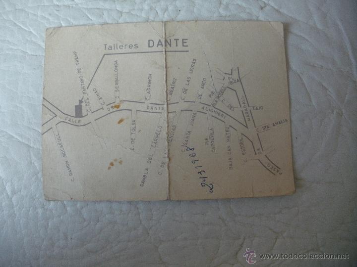 Catálogos publicitarios: TARJETA PUBLICITARIA - TALLERES DANTE, SEAT, CITROEN Y RENAULT - BARCELONA - AÑOS 60,70 - Foto 2 - 51544521