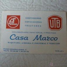 Catálogos publicitarios: TARJETA PUBLICITARIA - MAQUINARIA AGRICOLA - CASA MARCO - TERUEL - AÑOS 70. Lote 51544598