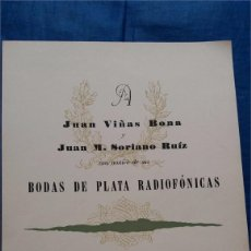 Catálogos publicitarios: BODAS DE PLATA RADIOFÓNICAS / VIÑAS Y SORIANO / R.N.E.-BARCELONA / CARTA MENÚ / HOTEL RITZ / 1965. Lote 51784285