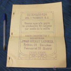 Catálogos publicitarios: CATALOGO DEL APARATO PARA PRODUCIR OXIGENO DEL P. MUNNER S. J.. Lote 52009936