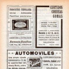 Catálogos publicitarios: HOJA PUBLICITARIA DE 20X29 - REVISTA ROSAS Y ESPINAS - VALENCIA 1920- FENOLLOSA, BUICK, , ETC. Lote 52133745