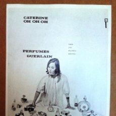 Catálogos publicitarios: 2 HOJAS DE PUBLICIDAD ORIGINAL DE T. T. ESTUDIOS: PERFUMES GUERLAIN. TAMAÑO 23 X 17CM. Lote 52444387
