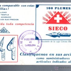 Catálogos publicitarios: CATALOGO PUBLICITARIO DE CARTON. PLUMAS PLUMILLAS SIECO. BARCELONA. VER FOTOS. VARIOS ARTICULOS. Lote 52570697