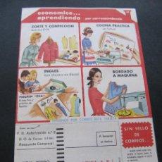 Catálogos publicitarios: FOLLETO CURSO EVA DE CORTE Y CONFECCION POR CORRESPONDENCIA. ACADEMIA AEI. Lote 52851265
