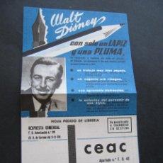 Catálogos publicitarios: FOLLETO PUBLICITARIO CEAC WALT DISNEY. PUBLICIDAD.. Lote 52851271