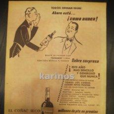 Catálogos publicitarios: 1955 PUBLICIDAD PRENSA BRANDY FUNDADOR DOMECQ. HOJA PUBLICIDAD. Lote 52995060