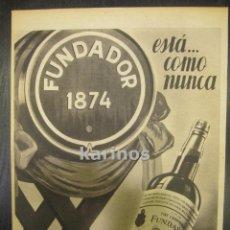 Catálogos publicitarios: 1955 PUBLICIDAD PRENSA FUNDADOR PEDRO DOMECQ. HOJA PUBLICIDAD. Lote 53002146