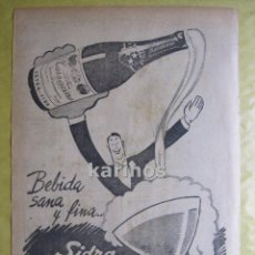 Cataloghi pubblicitari: 1950 PUBLICIDAD PRENSA SIDRA ZARRACHINA HOJA PUBLICIDAD RA. Lote 53106815