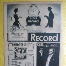 Catálogos publicitarios: 1952 PUBLICIDAD RELOJ RECORD, FERROCARRILES FRANCESES, ETC. PRENSA RA. Lote 53108800