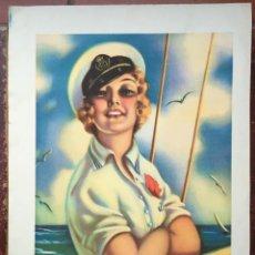 Catálogos publicitarios: CARTEL PUBLICIDAD LAMINA CINE AÑOS 40 VINTAGE MUJER MARINERO BARCELONA EEUU DECORACION COLOR BAR RES. Lote 53186669