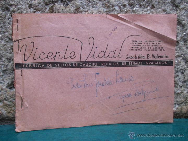 BELLO CATALOGO DE VICENTE VIDAL, VALENCIA 1920 - DISEÑOS SELLOS CAUCHO, ESMALTES Y GRABADOS + INFO (Coleccionismo - Catálogos Publicitarios)