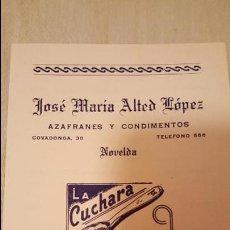 Catálogos publicitarios: ANTIGUA Y RARA TARIFA DE PRECIOS, AZAFRANES JOSE MARIA ALTED, MARCA LA CUCHARA, NOVELDA. Lote 53845943