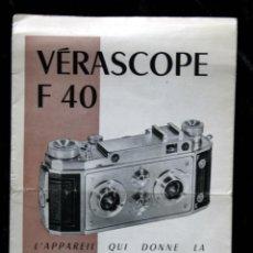Catálogos publicitarios: VERASCOPE F40 - FOLLETO - PUBLICIDAD 8 PÁGINAS - 21,5X13,5CM - FOTOGRAFIA - 3D - ESTEREOSCOPICA. Lote 53856579