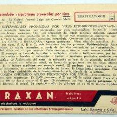 Catálogos publicitarios: PUBLICIDAD FARMACIA MEDICINA TORAXAN LABORATORIOS RAMÓN Y CAJAL MADRID AÑOS 50 . Lote 54029035
