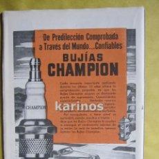 Catálogos publicitarios: 1947 PUBLICIDAD BUJÍAS CHAMPION -NA-. Lote 54070306
